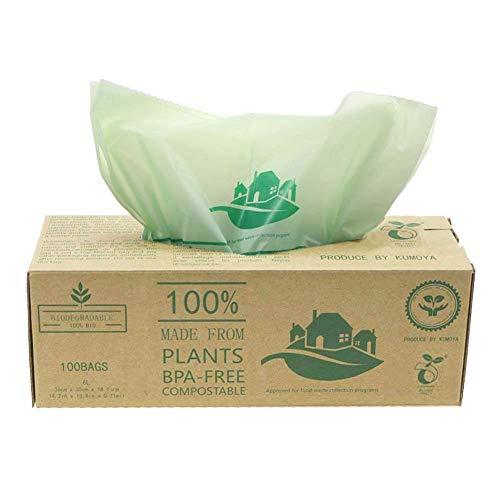 Sacchetti compostabili BioBag 6Litri/10 litri per pattumiere da Cucina Caddy, 100 Sacchetti (10L)