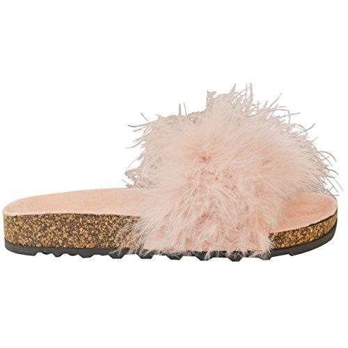 Fashion Thirsty Donne Sandali Bassi, Estivi Morbidi Pelliccia Finta Slip On Passanti Sandali Infradito Taglia Dusk rosa pastello
