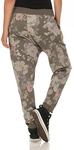 malito Damen Jogginghose mit Flower Print | Sporthose mit Knopfleiste| Baggy zum Tanzen | Sweatpants �?Freizeithose 3304 Braun