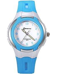 Lancardo Reloj Deportivo Analógico con Correa de Silicona Pulsera Electrónica con Agujas Noctilucentes Impermeable de 30m para Actividad Deportes Exteriores para Niño Niña Chicos (Azul)