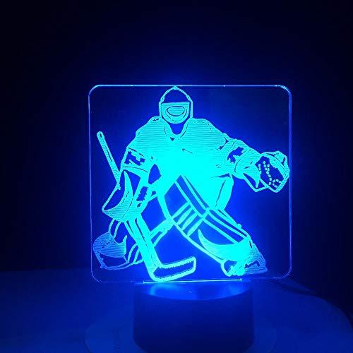 Touch Control Und Fernbedienung 3D Led 16 Farben Tischlampe Eishockey Goalie Modellierung Nachtlicht Usb Schlafzimmer Schlaf Beleuchtung Sport Fans Geschenke Wohnkultur