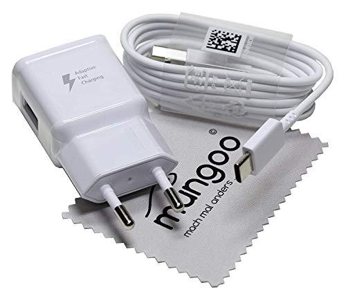 Ladegerät für Original Samsung für Galaxy S9 S9+ A20 A30 A40 A50 A70 A80 M20 M30 M40 2A USB Typ-C Blitz Schnell Daten Lade-Kabel mit mungoo Displayputztuch