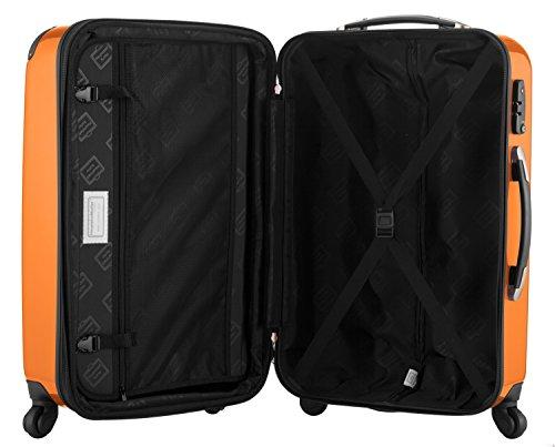 HAUPTSTADTKOFFER® 2er Hartschalen Kofferset · Handgepäck 45 Liter (55 x 35 x 20 cm) + Koffer 87 Liter (63 x 42 x 28 cm) · Hochglanz · TSA Zahlenschloss · GELB Orange