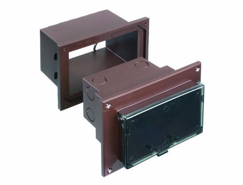 Arlington DHB1BRC-1 Outdoor Electrical Box for New Brick Construction, Brown Box/Clear Cover, Horizontal/1-Gang by Arlington Industries - Na Electrical Box Cover