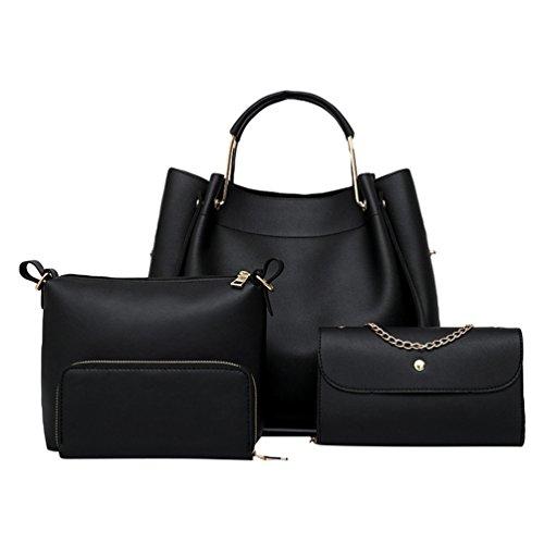 Kairuun donna borsa retrò 4 set borsetta borsa a tracolla + borsa messenger+portafoglio colore puro