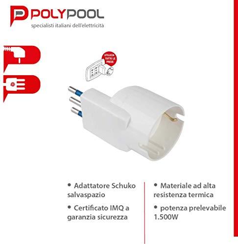 Poly Pool PP2233 - Adattatore Salvaspazio - Spina Piccola da 10A 2P+T Schuko Ideale per Essere Collegato a Qualsiasi Presa - Colore BIA, Bianco