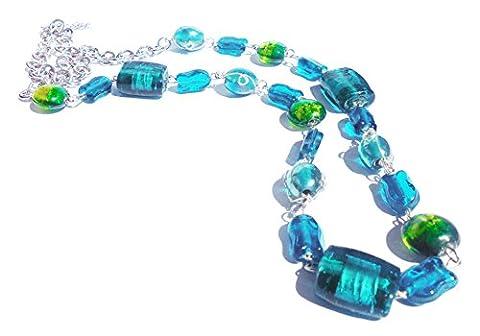 Collier Bohème en verre soufflé multicolore style Murano ( 40 - 70 cm) - Bleu et Vert