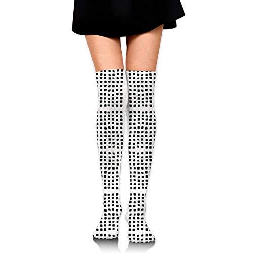 DGHKH Form Square Polka Dot Tight Black On White Giftwra Novelty Socks Tall Socks Knee High Graduated Compression Socks for Unisex