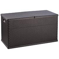 Cojín Caja Trenzado aspecto 63cm x 120cm x 57cm antracita–Amplios posibilidad de almacenamiento para jardín Utensilios–intemperie y a los rayos ultravioleta plástico–Fácil de Montar