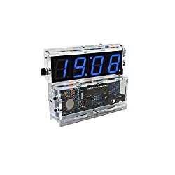 Kkmoon 4-digit Diy Digital Led Clock Kit Light Control Temperature Display Transparent Case Blue