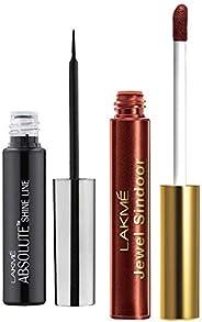 Lakmé Absolute Shine Liquid Eye Liner, Black, 4.5ml & Lakme Jewel Sindoor, Maroon, 4.5ml