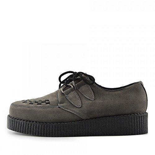 Kick Footwear Herren Flach Plateau Keil Schnüren Gothic Punk Leisetreter Creepers Schuhe Größe - UK 12/EU 46, Grau