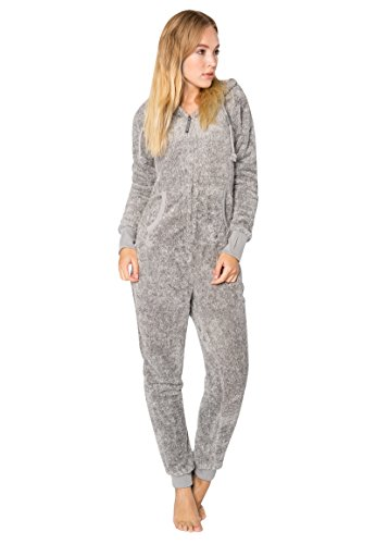 EIGHT2NINE Damen Jumpsuit aus kuscheligem Teddy Fleece | Overall | Ganzkörperanzug mit Ohren light-grey1 L/XL