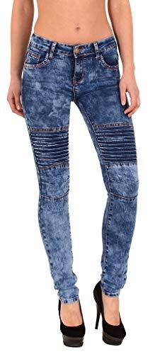 Zerstört Röhrenjeans (ESRA Damen Röhrenjeans Skinny Jeans Destroyed Jeanshose bis Übergröße 46, 48, 50, # J312)
