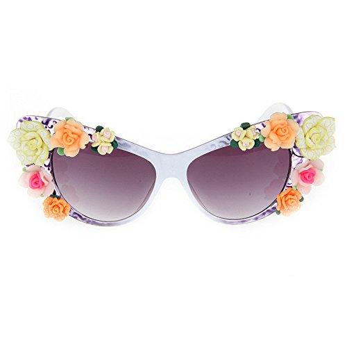 Yiph-Sunglass Sonnenbrillen Mode Damen-Sonnenbrille Bunte handgefertigte Polymer Clay Flower Lady Sonnenbrille Katzenaugen Strand für Sommerurlaub UV-Schutz Sonnenbrille