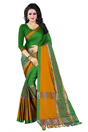 Purvi Fashion Women's Aura Cotton Silk Sarees With Blouse Pic(Aura_Cotton_Silk_Sarees_Free_SIze) (Green)