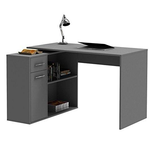 CARO-Möbel Eckschreibtisch Schreibtisch Computertisch Lena, in grau anthrazit, mit Regal, 120 x 75 x 91,5 cm, Kinderschreibtisch