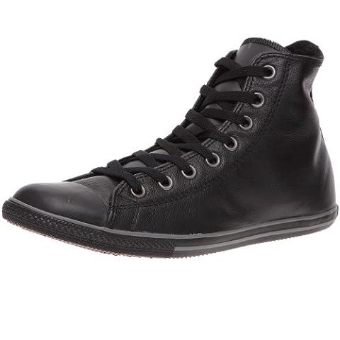 Converse Slim Chuck Taylor Leather Hi Top Shoes in Black Monochrome (117634), Size:6 UK , Color: Black