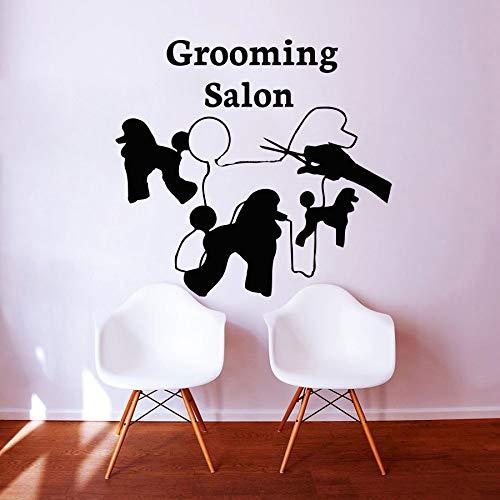 Creativo Grooming Salon Wall Sticker Home Decor Soggiorno Camera da letto Stickers murali Animali domestici Negozio di murales 62cmx58cm