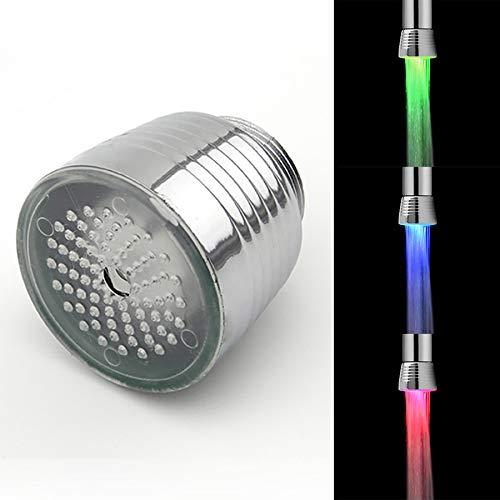 Qmber LED-Wasserhahn Bunte leuchtende Wasserhahn LED-Temperaturregelung Wasserhahn bunten Wasserhahn mit eigener Stromversorgung Wasserhahn Selbstversorgender Wasserhahn für Badezimmer-Küche,Silver