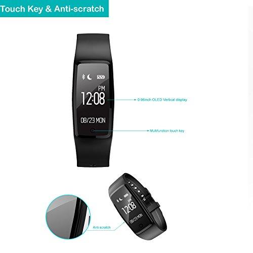 YAMAY® HR3 Fitness Tracker mit Pulsmesser Bluetooth Fitness Activität Tracker Schrittzähler Wasserdicht IP67 Armbanduhr mit Herzfrequenz / Schlafanalyse/Kalorienzähler/SMS SNS Wecker Vibration für Android und IOS Handys - 2