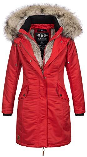 Navahoo Damen Winter Jacke Parka Mantel Winterjacke warm Kunstfell Premium B664 [B664-Day-Rot-Gr.L]