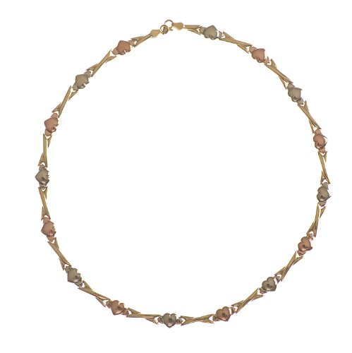 Adara 9ct Yellow Gold 3 Colour Hearts and Kisses Necklet of 43.18cm