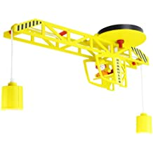 Elobra Kinder Lampe Deckenlampe Turmdrehkran mit Markus Deckenleuchte Kinderzimmer Holz, gelb 128282