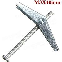 Desconocido Generic M3 Spring Toggle Placa de Placa Hueca Cavity Wall Anchor Fijaciones 30 mm / 40 mm / 50 mm de Longitud