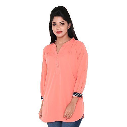Twist Womens Orange Casual Party Wear 3/4th Sleeve Short Kurti Top ,(3XL)