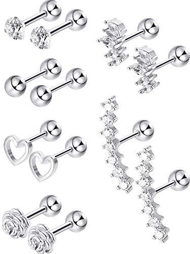 Blulu 6 paia acciaio inossidabile orecchini di cartilagine di trago borchie labret con labbro piercing per il corpo del naso per uomini donne ornamenti (argento)