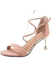 uirend Zapatos para Mujer Sandalias de Vestir - Tacón Embudo Punta Abierta Tacones Altos Hebilla Encantos De Boda De Noche Zapatos de Vestir…