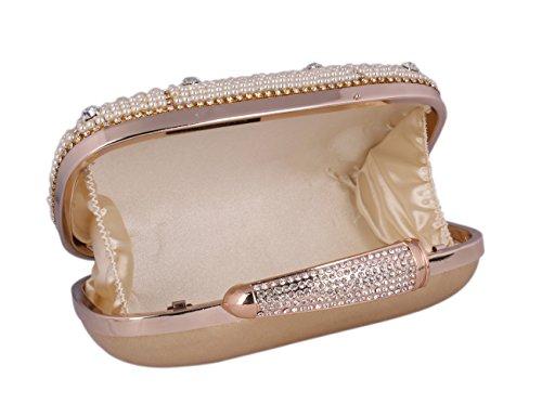 Adoptfade Damen Abendtasche Brauttasche Mit Perlen Und Strass, Gold Silber