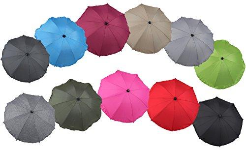 Clamaro 'SUNCOVER' Universal Sonnenschirm Regenschirm für Kinderwagen und Sport Buggy (11 Farben), Babywagen Schirm mit Universal Halterung mit 360° flexiblen Schwanenhals, Rosa 9