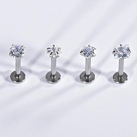 SHINEstyle 4x 16g Surgical Ear Gem Bijoux Boucles Clou d