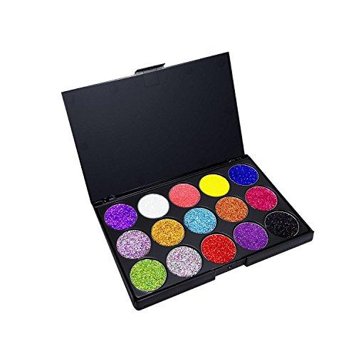 Gold-glitter Make-up (Allwon Glitter Lidschatten Gedrückt Glitter Make-up Palette Pigmentierte Schimmer Regenbogen Bold Glänzt Lidschatten, 15 Farben)