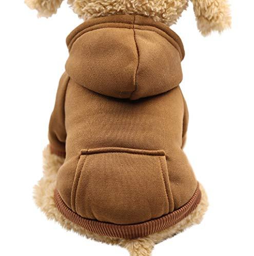 Hundemantel Hundejacke Kapuzen Sweatshirt Haustier Hund Katze Einfarbig Kleidung niedlichen Haustier Kleidung warme Kapuze Pullover Hundebekleidung mit Tasche Hoodie Puppy Coat Bekleidung TWBB