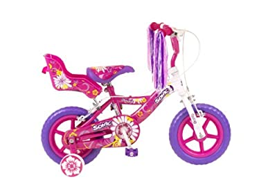 Sonic Daisy Girls Bike - White/Pink, 12 Inch