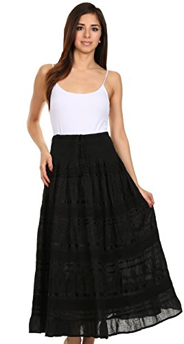 Sakkas Lace and Ribbon Peasant Boho Skirt Schwarz