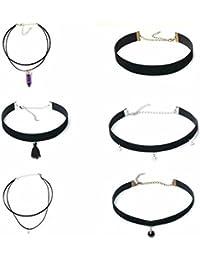 FemNmas Black Colour Stylish Choker Necklace Set Of (6 Pcs) For Women & Girls