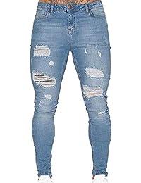 12310fab72 Targogo Pantalones Vaqueros para Hombres Pantalones Vaqueros Pantalones Slim  Fit Elásticos Vaqueros Básicos Pantalones Vaqueros Básicos