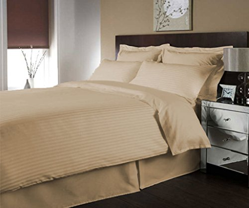 SCALABEDDING ägyptische Baumwolle Fadenzahl 400Luxuriöse gestreift Bettbezug Königin - Bettbezug Königin Taupe