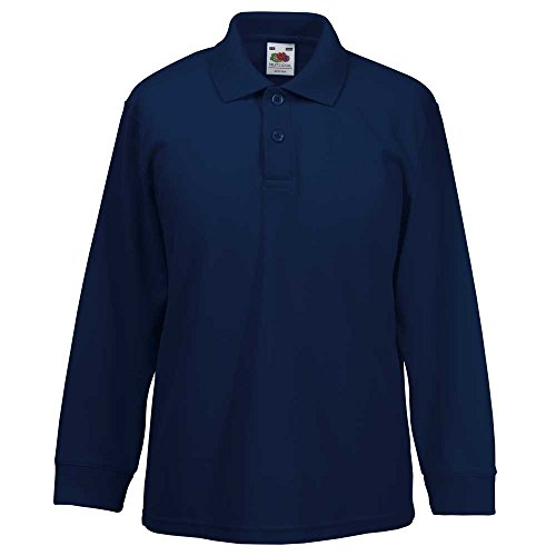 Fruit of the Loom Kid's Long Sleeved 65/35 Polo Shirt Deep Navy