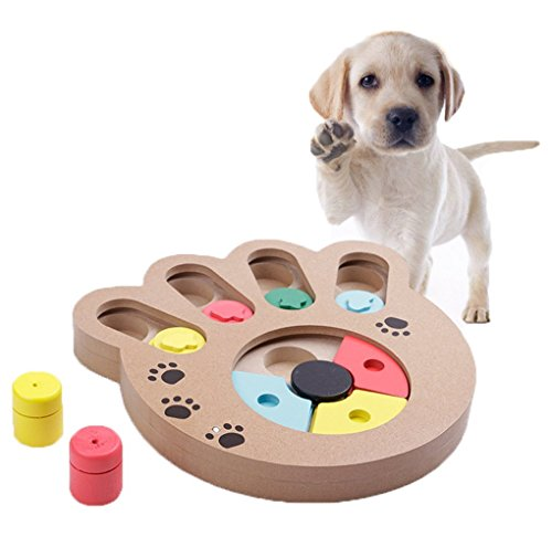 YJZQ Hunde Intelligenzspielzeug Strategiespiel Toy IQ Training Interaktive Versteckspiel Essen langsame Fütterung Holz Pet Puzzlespiel für Hunde und Katzen