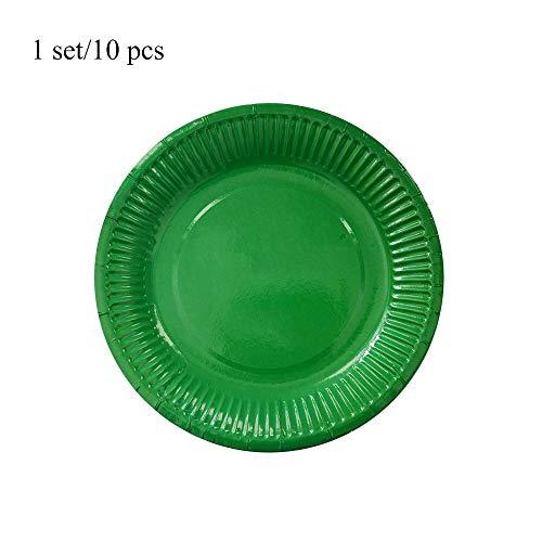 Pappteller, 18 cm, Einweg-Papierteller, einfarbig, Anleitung für Kinder, rund, für Kuchen, Dessert, Obst, Geschirr (grün)