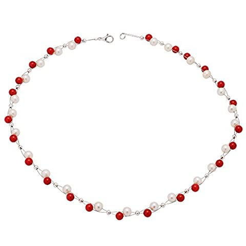 Genuine Coral Necklace Chain & Red Pearls Necklace Freshwater Pearls White for Ladies