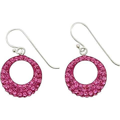 Toc argento Sterling rosa strass Set aperto cerchio orecchini pendenti - Hot Diamonds Cerchio Orecchini