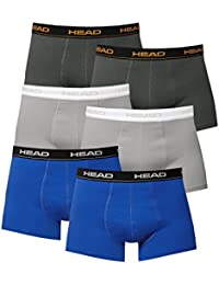 Head 6 Pantalons pack Boxer Short Hommes en coton stretch court Athletic Fit - Noir