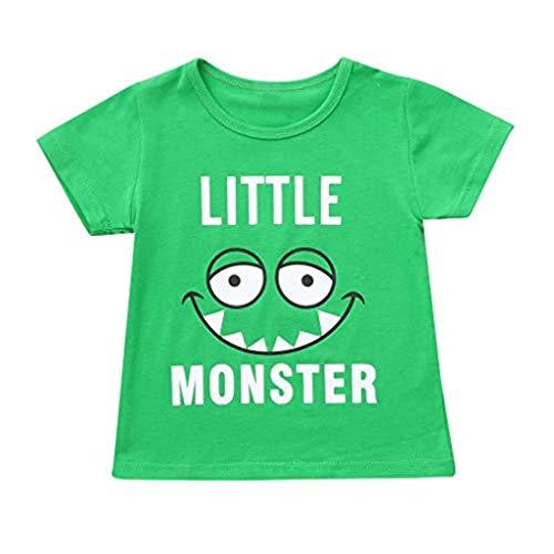 squarex Kinder Kinder Jungen Mädchen Kinder Kurzarm Cartoon Brief Auge Print Top T-Shirt Komfortable Casual Wear -