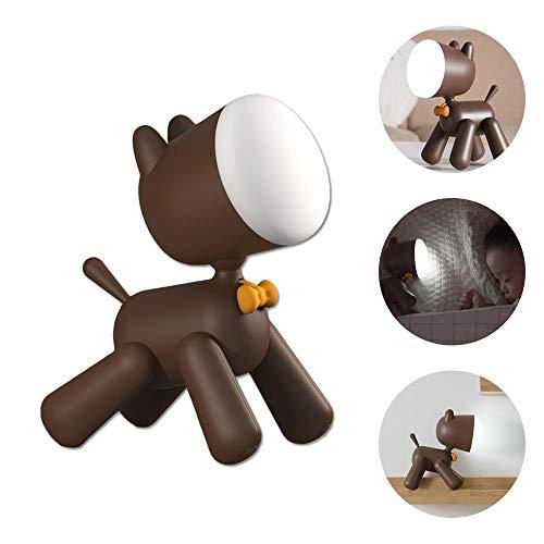 AOLVO Lámpara de Escritorio para Perros - Lámpara de Lectura para Perros 2 en 1 y luz Nocturna de Cachorro - Piernas giratorias y Cabeza Ajustable - Lámpara de Mesa USB Linda marrón